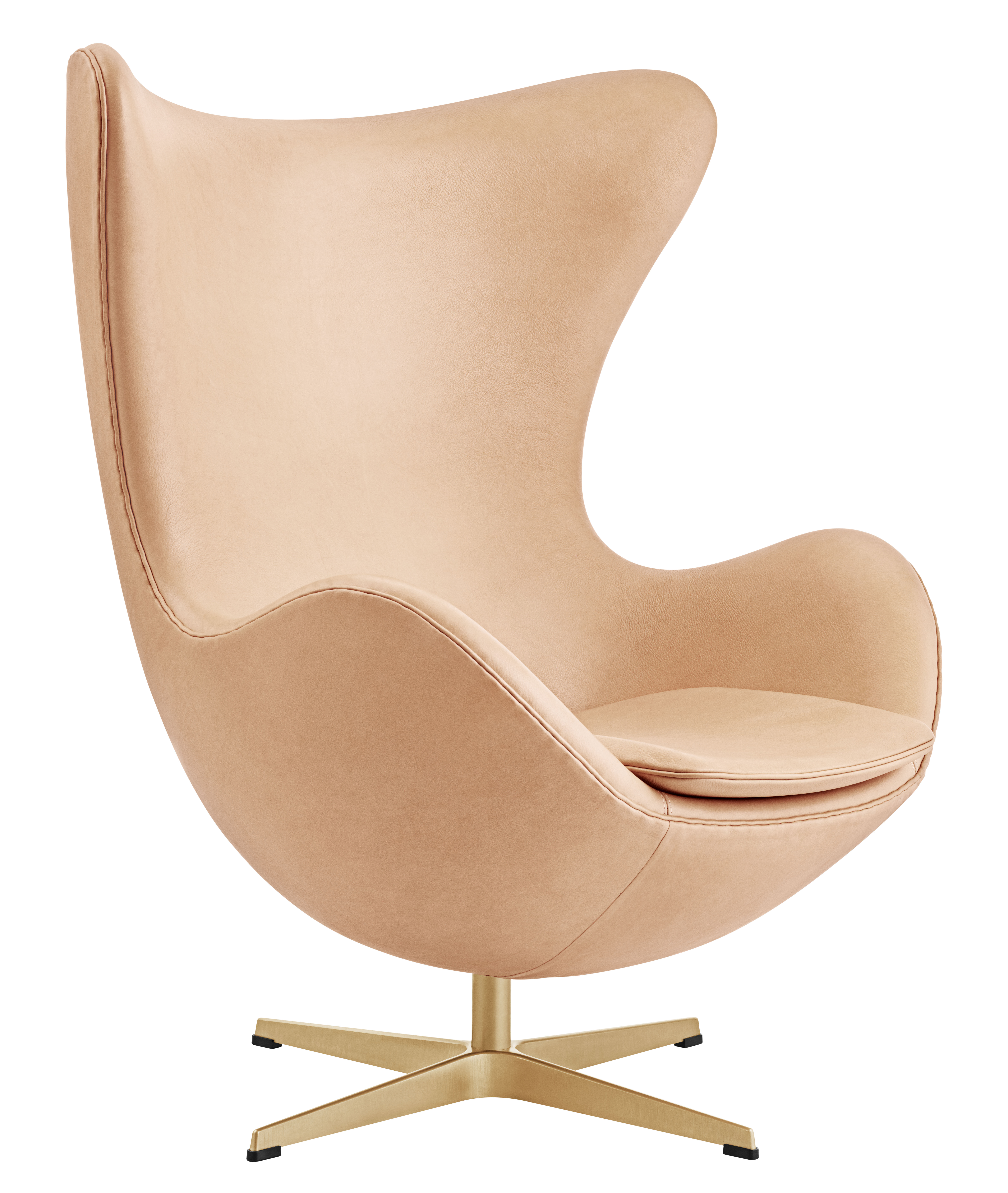egg chair swivel armchair leather gold 60 year. Black Bedroom Furniture Sets. Home Design Ideas