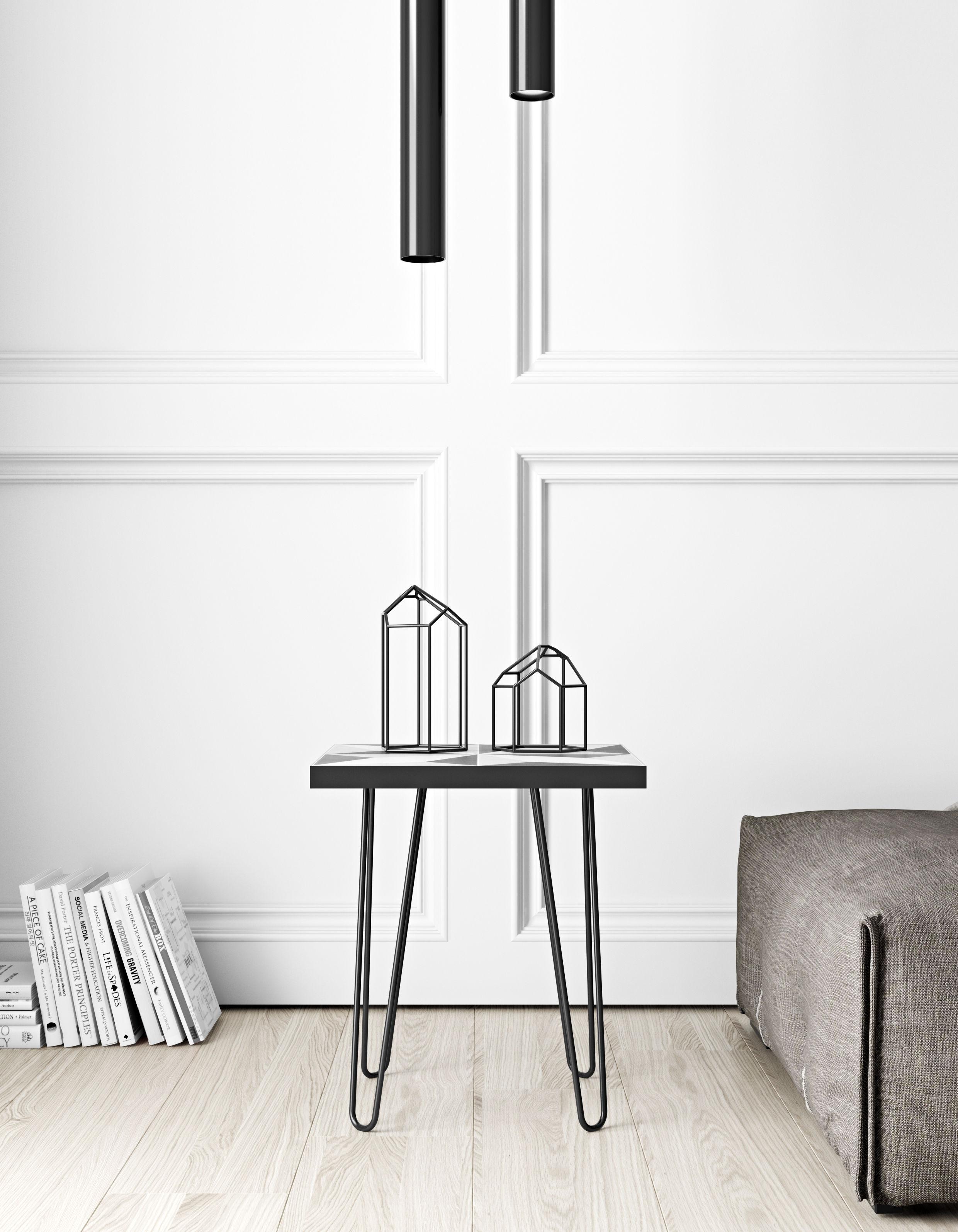 table d 39 appoint lisbonne carreaux c ramique 41 x 41 cm gris noir pied noir pop up home. Black Bedroom Furniture Sets. Home Design Ideas