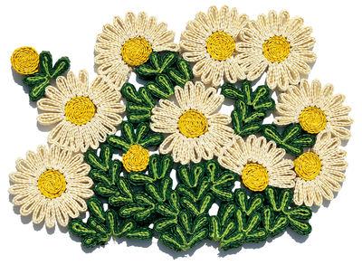 Set de table Florigraphie Marguerite / 50 x 35 cm - Seletti blanc,jaune,vert en rotin & fibres