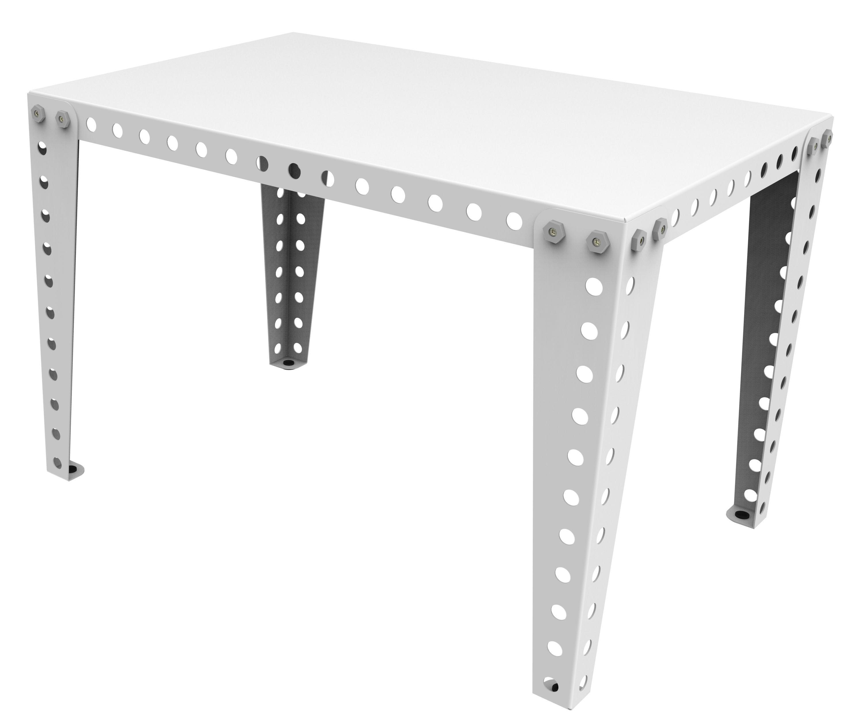 bureau enfant 90 x 60 cm blanc pieds blancs meccano home. Black Bedroom Furniture Sets. Home Design Ideas