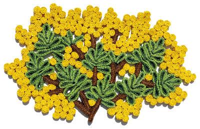 Set de table Florigraphie Mimosa / 50 x 35 cm - Seletti jaune,vert en rotin & fibres