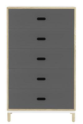 Commode Kabino / L 74 x H 127 cm - 5 tiroirs - Normann Copenhagen gris,frêne naturel en métal