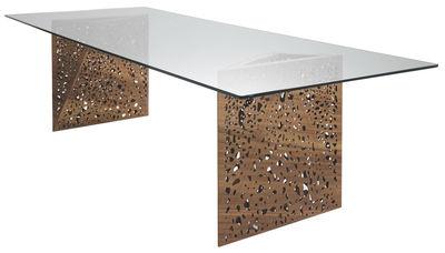 Mobilier - Mobilier lumineux - Table lumineuse Riddled-LED / 100 x 200 cm - Horm - 100 x 200 cm - Noyer & verre - Noyer, Verre trempé