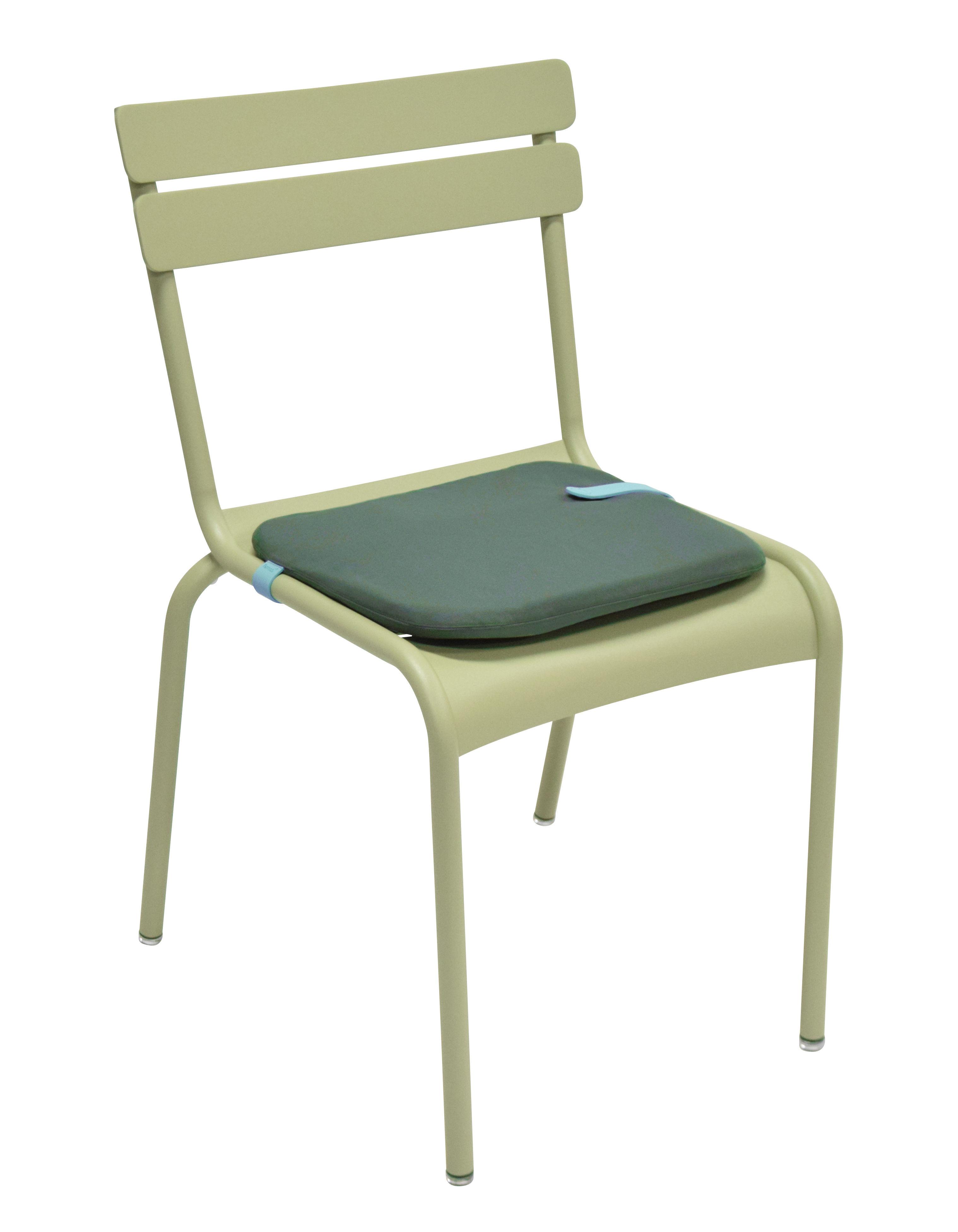 galette de chaise color mix 41 x 38 cm bleu goa sangle miel fermob. Black Bedroom Furniture Sets. Home Design Ideas