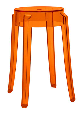 Tabouret empilable charles ghost h 46 cm plastique orange kartell - Tabouret plastique empilable ...