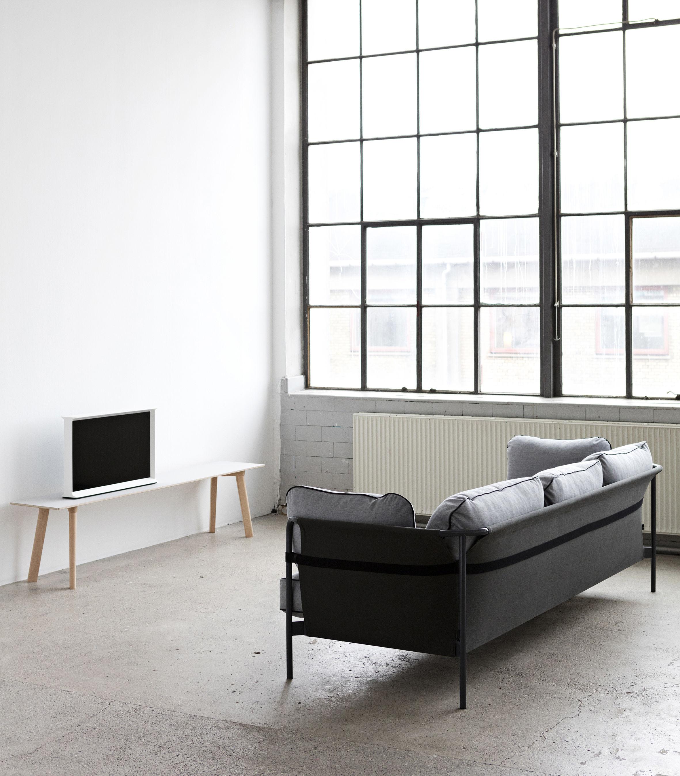 canap droit can 3 places structure grise gris clair c t s kaki hay. Black Bedroom Furniture Sets. Home Design Ideas