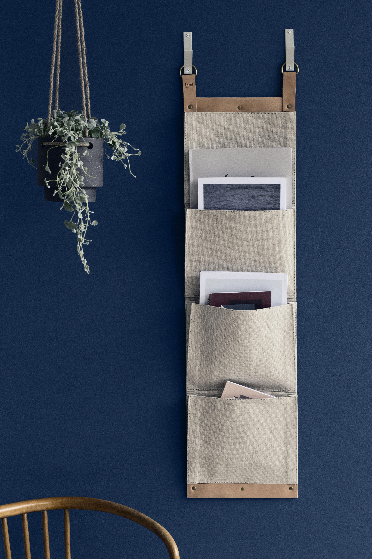 Rangement mural enter porte revues h 100 cm beige for Porte living