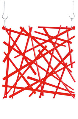 Furniture - Partitions, screens, room dividers - Stixx Partition - / Set of 4 - hooks provided by Koziol - Red clear - Polycarbonate