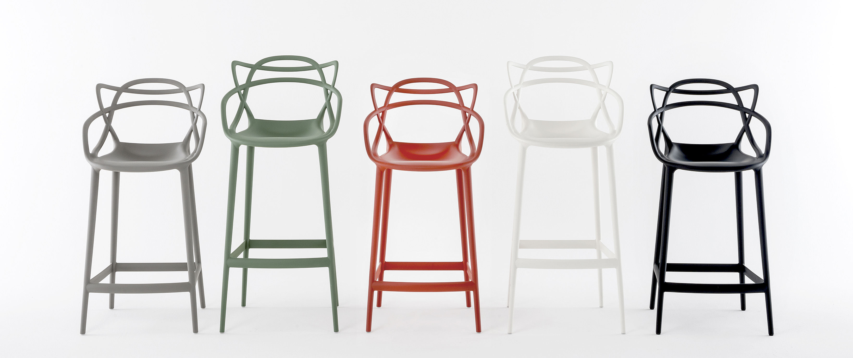masters bar chair  h  cm  polypropylen green by kartell - zoom