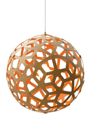 Luminaire - Suspensions - Suspension Coral / Ø 60 cm - Bicolore orange & bois - David Trubridge - Orange / Bois naturel - Pin