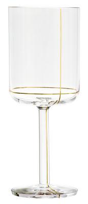 Verre à vin rouge Colour Glass / Lignes dorées - 40 cl - Hay or,transparent en verre