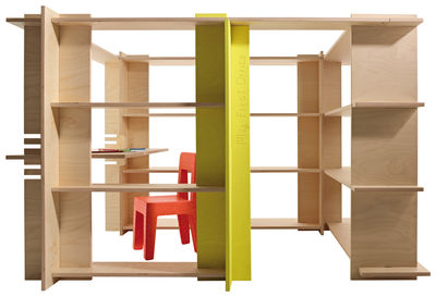Mobilier - Etagères & bibliothèques - Bibliothèque My First Office / Espace jeu & bureau - 180 x 140 x H 120 cm - Magis Collection Me Too - Bois clair / Jaune - HPL, Multiplis de bouleau