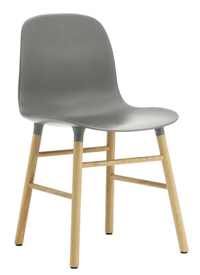 Mobilier - Chaises, fauteuils de salle à manger - Chaise Form / Pied chêne - Normann Copenhagen - Gris / chêne - Chêne, Polypropylène