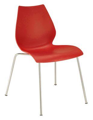 Chaise empilable Maui / Plastique & pieds métal - Kartell rouge en matière plastique