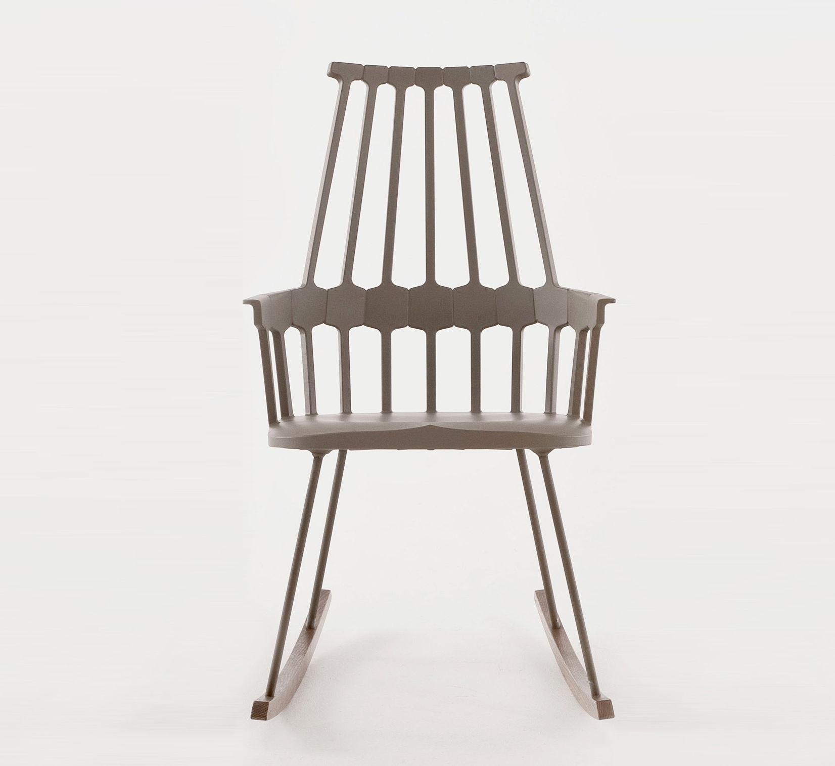 rocking chair comback polycarbonate pieds bois noisette bois kartell. Black Bedroom Furniture Sets. Home Design Ideas