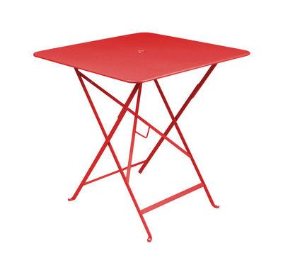 Table pliante Bistro 71 x 71 cm Trou pour parasol Fermob coquelicot en métal