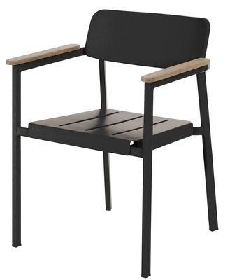 Shine Stapelbarer Sessel / Metall & Armlehnen Holz - Emu - Schwarz,Teak