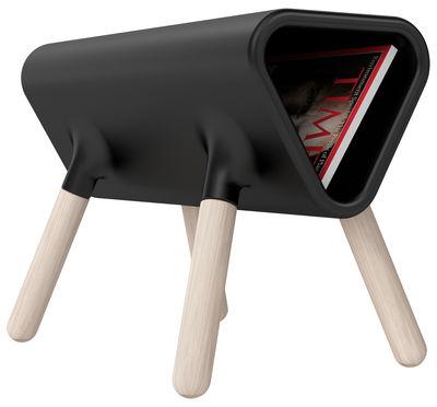 Tavolino d'appoggio Didier - / Sgabello con portariviste integrato di Stamp Edition - Nero - Materiale plastico