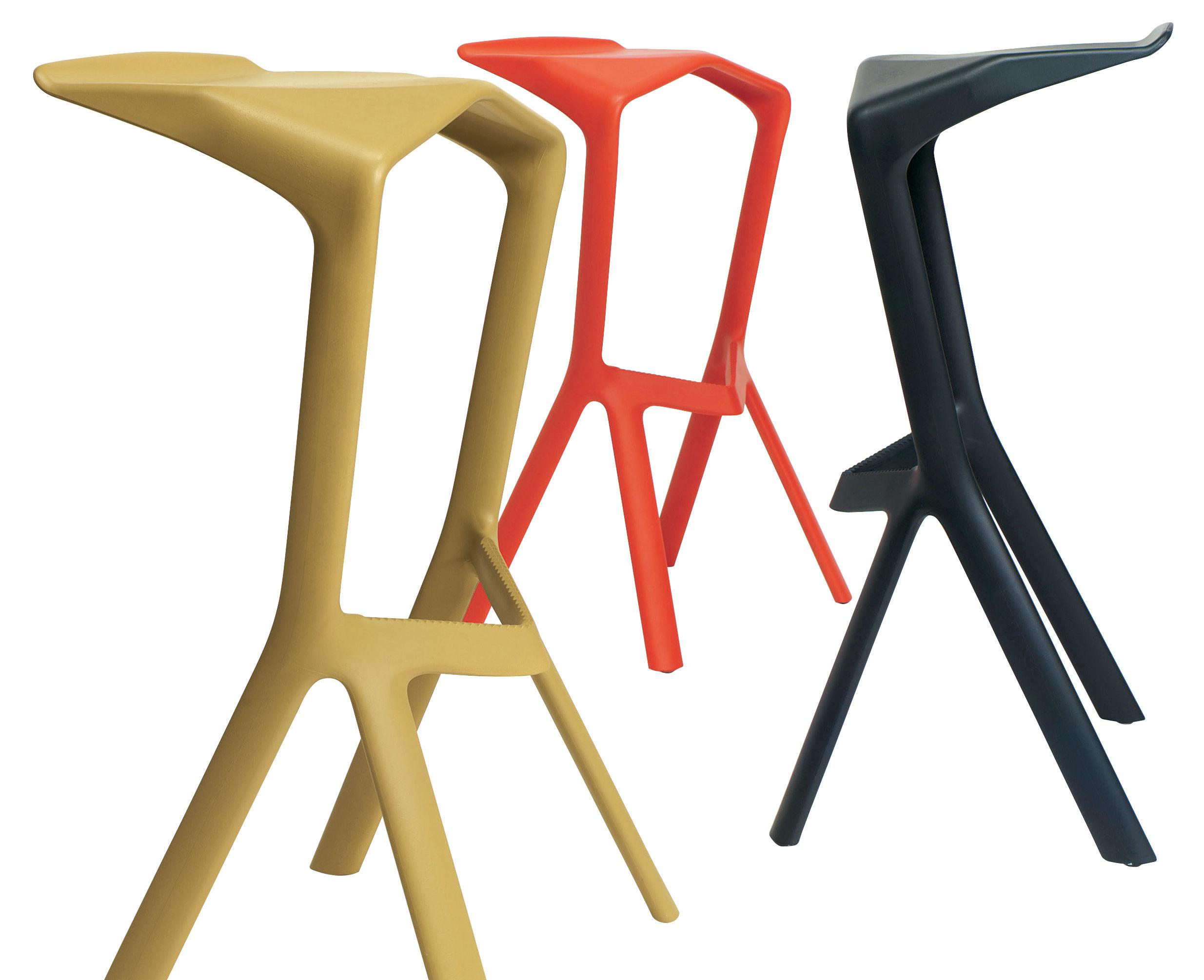 tabouret de bar miura h 78 cm plastique orange plank made in design. Black Bedroom Furniture Sets. Home Design Ideas