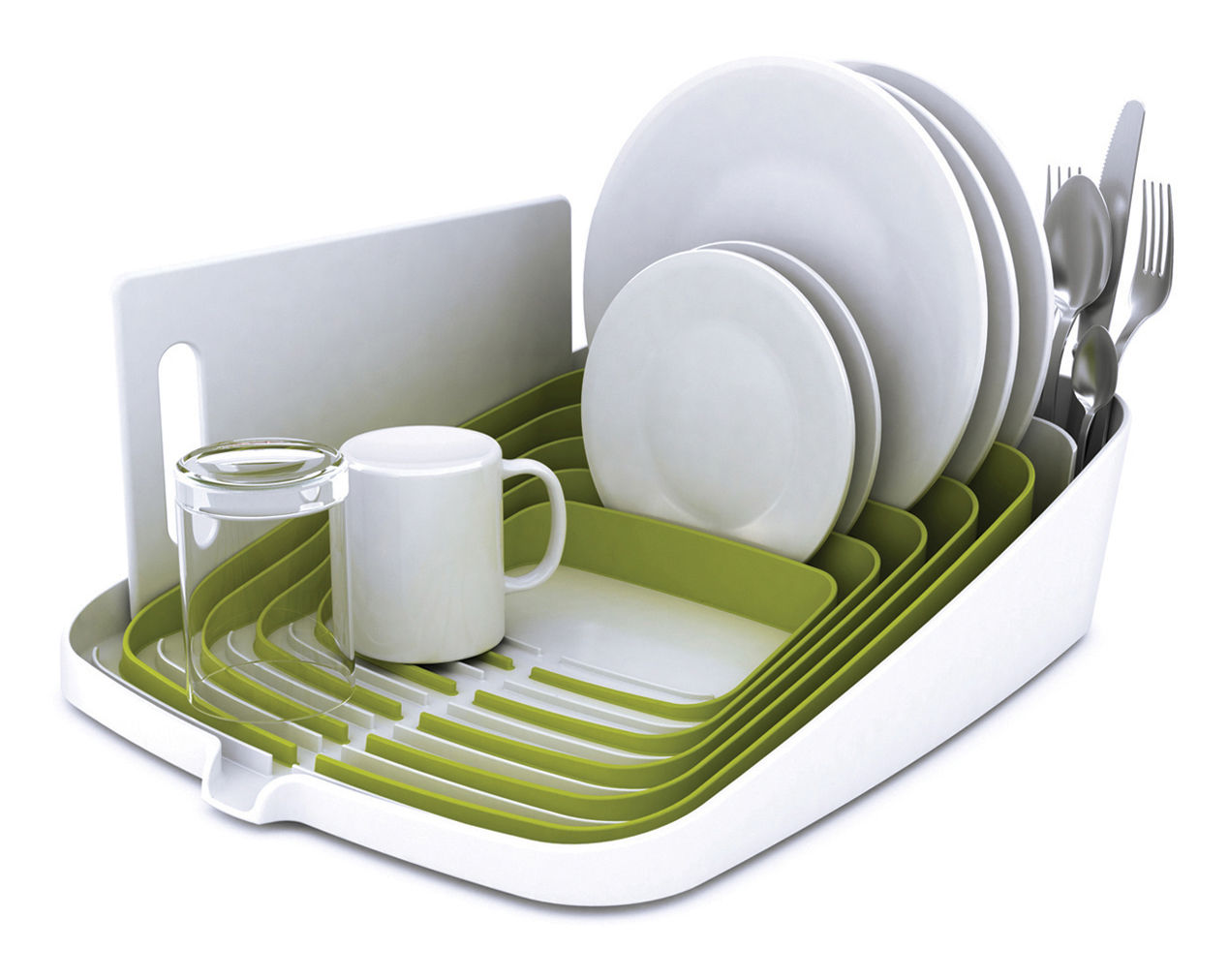 arena draining rack dish drainer green white by joseph. Black Bedroom Furniture Sets. Home Design Ideas