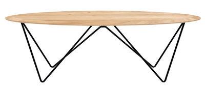 Tavolino basso Orb / L 130 cm - Universo Positivo - Nero,Rovere naturale - Legno