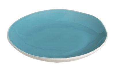 Assiette à dessert Bazelaire Ø 19cm- Faïence émaillée - Sentou Edition turquoise en céramique