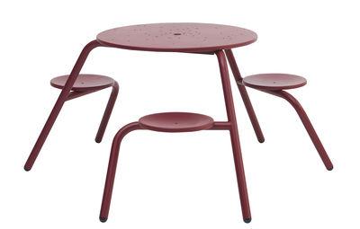 Jardin - Tables de jardin - Table de jardin Virus / 3 places - Métal - Extremis - Bordeaux - Acier zingué