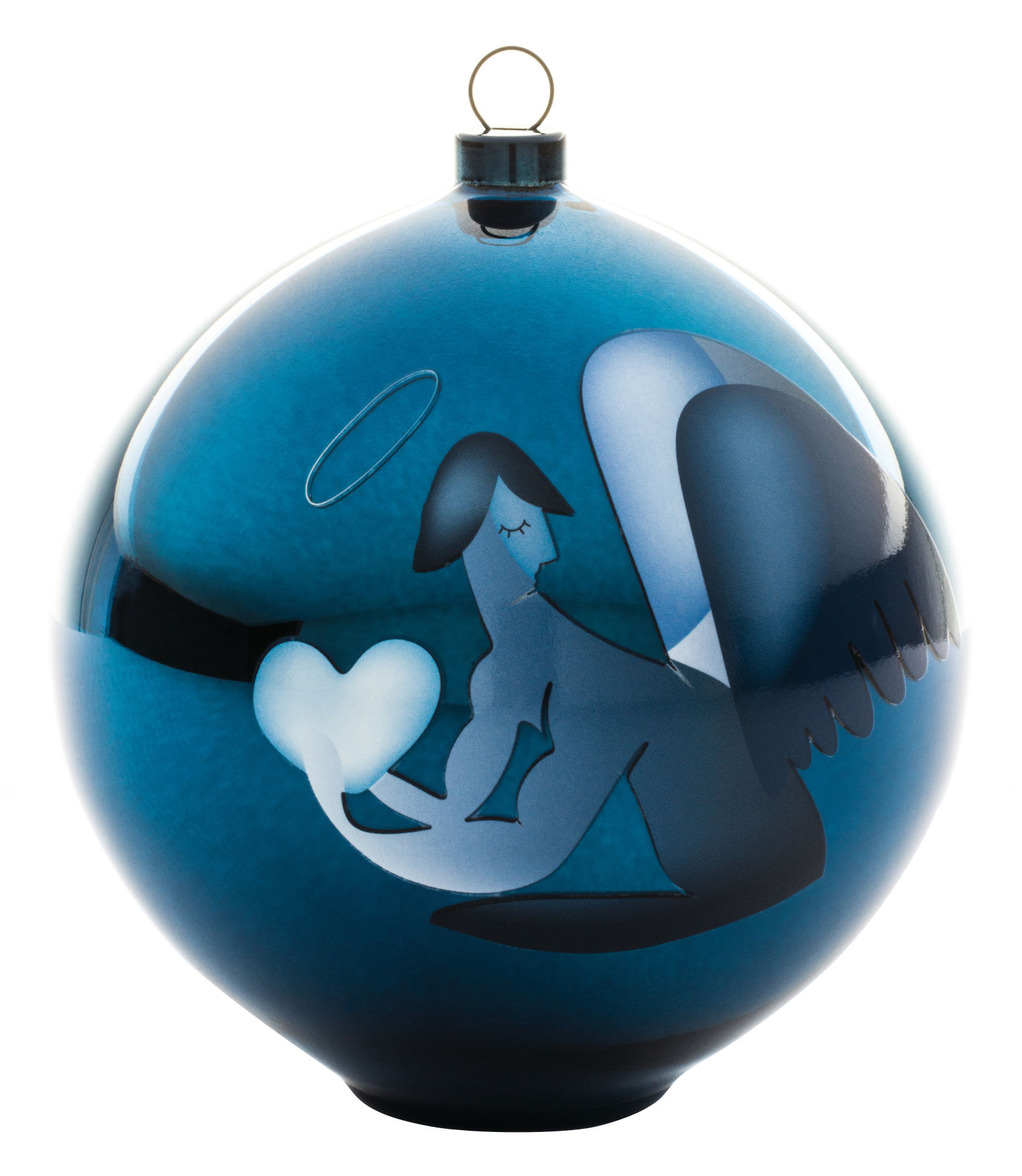 boule de no l blue christmas verre souffl ange a di. Black Bedroom Furniture Sets. Home Design Ideas