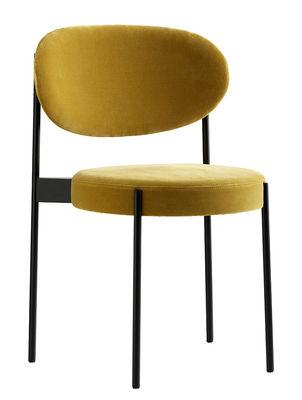 Chaise rembourrée Series 430 Velours Verpan noir,jaune ocre en tissu