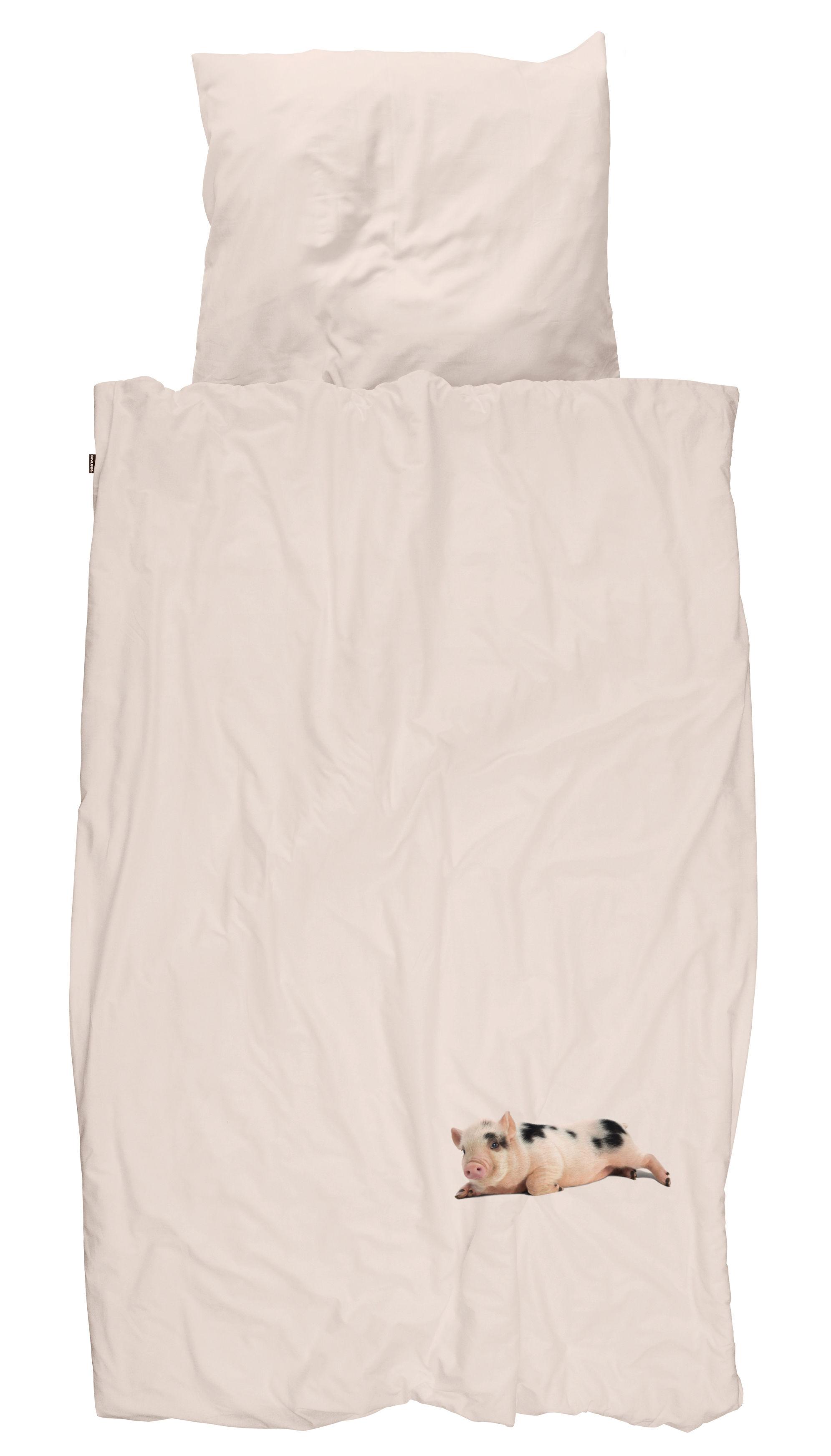 parure de lit 1 personne miss peggy 140 x 200 cm porcelet fond rose snurk. Black Bedroom Furniture Sets. Home Design Ideas