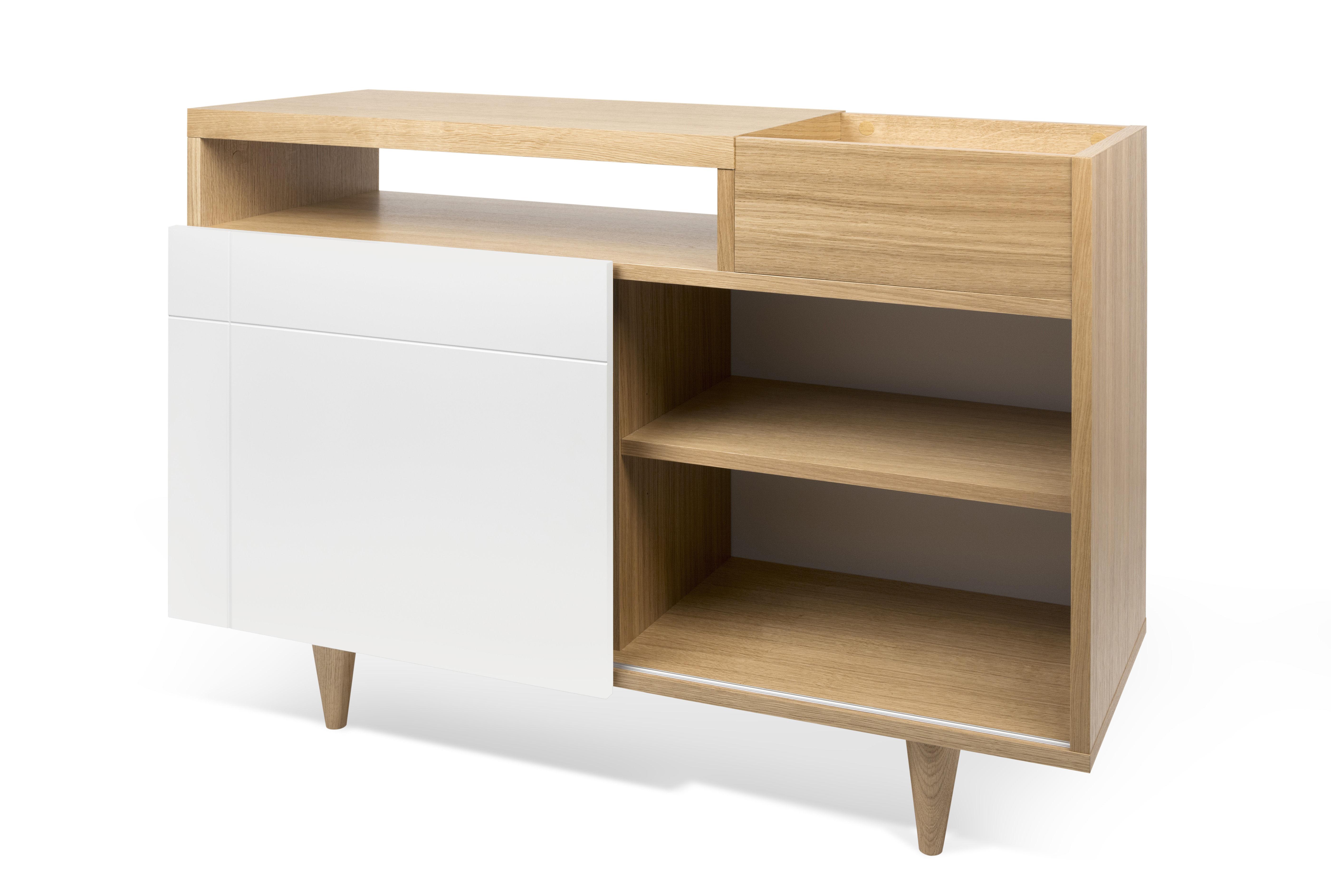 buffet slide l 110 x h 82 cm blanc ch ne pop up home. Black Bedroom Furniture Sets. Home Design Ideas