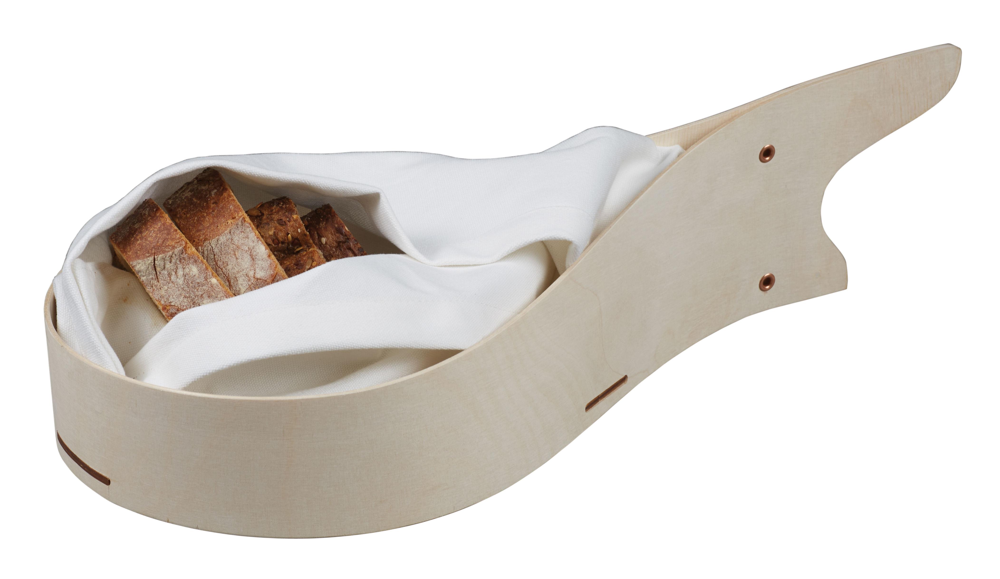 Atelier Meruru Handmade Basket : Bread basket with reclosable bag l cm birch white