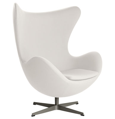 Poltrona girevole Egg chair - tessuto Fame di Fritz Hansen - Bianco - Tessuto
