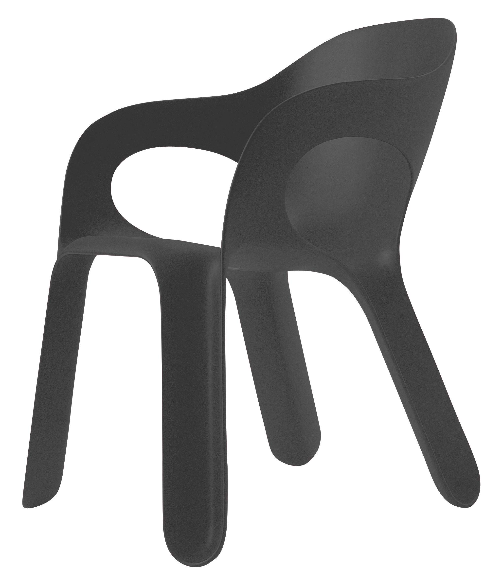 Easy chair stackable armchair plastic grey anthracite by for Plastic easy chair