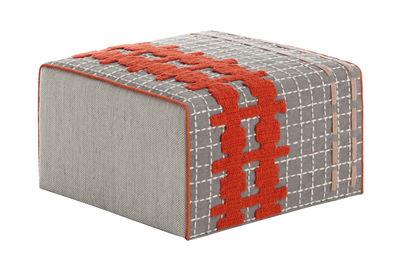 Foto Pouf Bandas Small / 60 x 60 x H 35 cm - Gan - Bianco,Arancione,Grigio - Tessuto