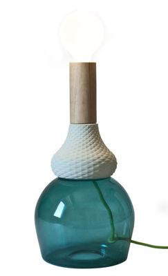 Foto Lampada da tavolo MRND - Maria Teresa - / H 36 cm - Lampadina non in dotazione di Seletti - Legno naturale,Verde acqua - Vetro