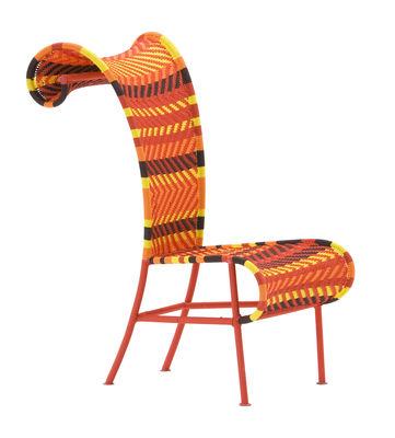 Mobilier - Chaises, fauteuils de salle à manger - Chaise Shadowy - Sunny / Plastique tressé - Moroso - Multired (orange,jaune,marron, rouge) - Acier verni, Fils plastique
