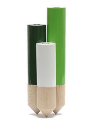 Déco - Vases - Soliflore PIK / Triple - H 25 cm - Y'a pas le feu au lac - Vert - Hêtre