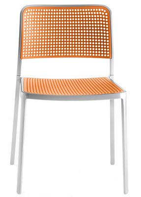 Mobilier - Chaises, fauteuils de salle à manger - Chaise empilable Audrey / Structure aluminium mat - Kartell - Structure alu mat / Assise orange - Aluminium verni, Polypropylène