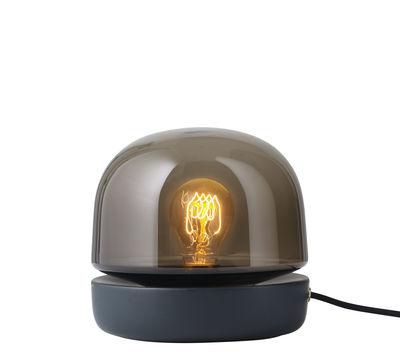 Luminaire - Lampes de table - Lampe de table Stone / Céramique - H 19 cm - Menu - Noir / Verre fumé - Céramique, Verre teinté