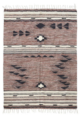 Tapis Tribe / 140 x 200 cm - House Doctor blanc,noir,vieux rose en tissu