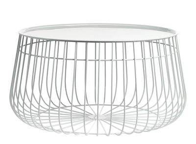 Table basse Wire / Plateau amovible - Ø 62 x H 35 cm - Pols Potten blanc en métal