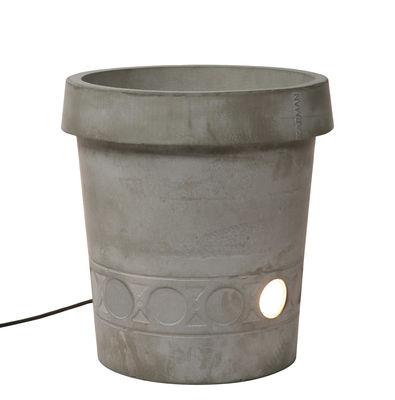 Pot de fleurs lumineux Gervaso LED / Ciment - Ø 44 x H 45 cm - Karman gris en pierre