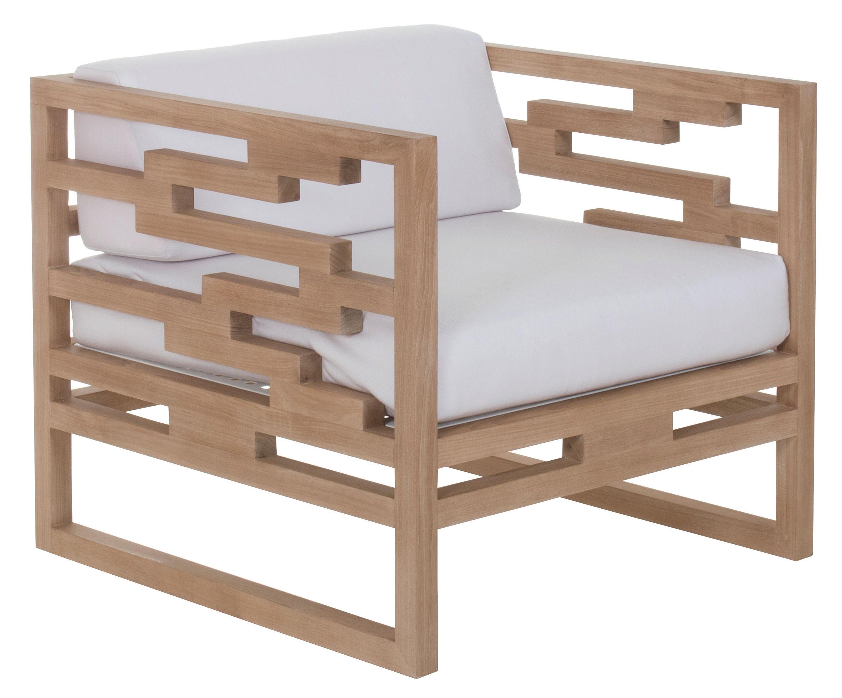 kontiki armchair teak teak perla beige cushion by emu. Black Bedroom Furniture Sets. Home Design Ideas