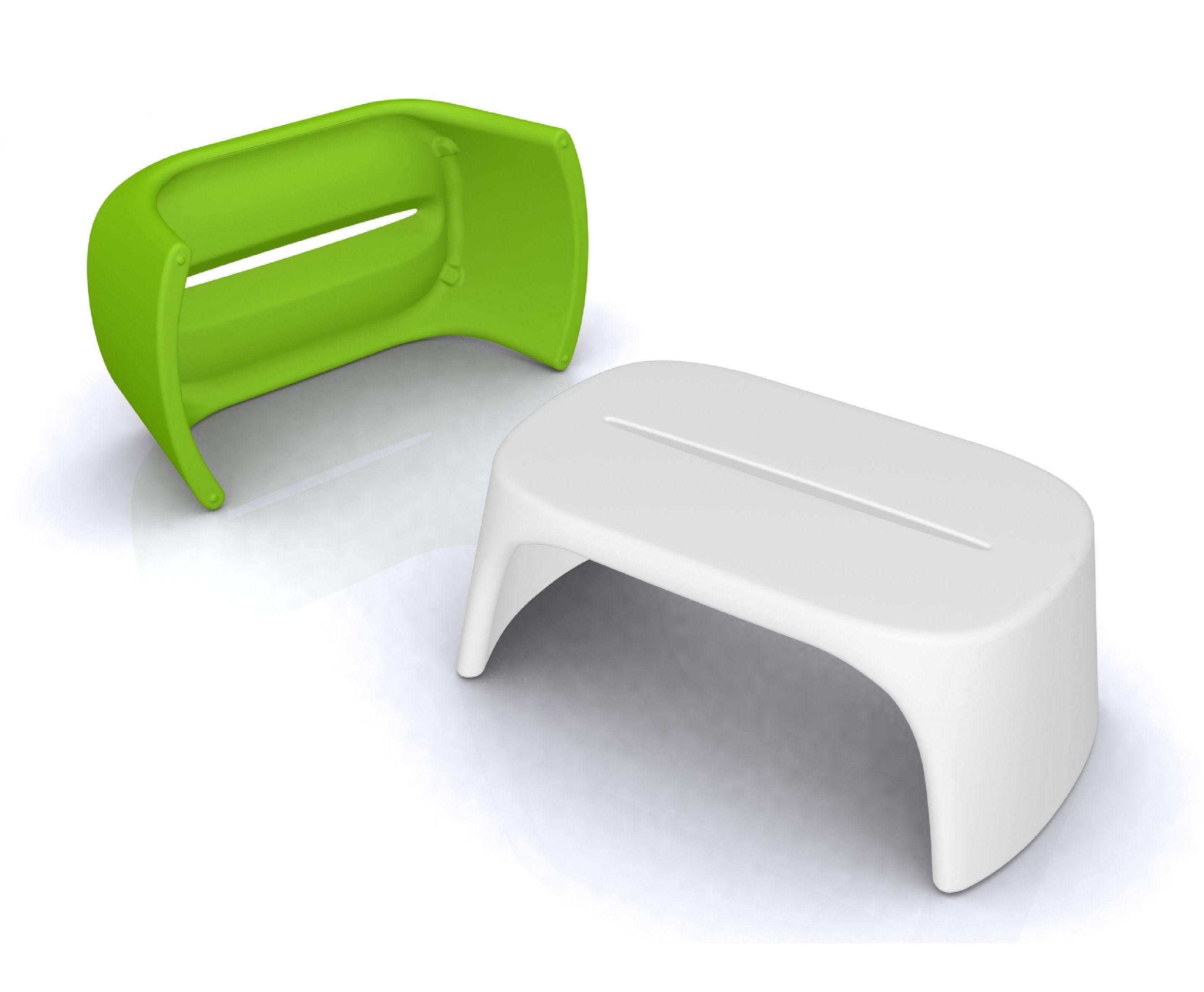 table basse am lie banc l 108 cm plastique blanc slide. Black Bedroom Furniture Sets. Home Design Ideas