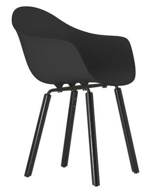 Mobilier - Chaises, fauteuils de salle à manger - Fauteuil TA / Pieds bois - Toou - Noir / Pieds noirs - Chêne peint, Métal laqué, Polypropylène