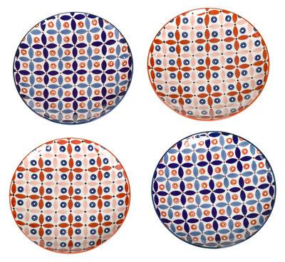 Arts de la table - Assiettes - Assiette à dessert Petal Mix / Ø 20 cm - Set de 4 - Peint à la main - Pols Potten - Bleu / Rouge - Porcelaine émaillée