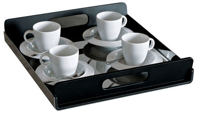 Tableware - Trays - Vassily Tray by Alessi - Black & steel / L 35 cm - PMMA, Polished stainless steel