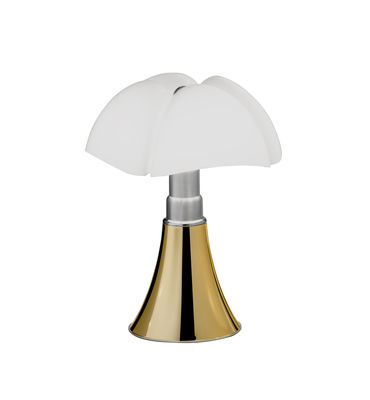 Luminaire - Lampes de table - Lampe de table Minipipistrello LED / H 35 cm - Martinelli Luce - Or / Abat-jour blanc - Acier galvanisé, Aluminium laqué, Méthacrylate opalin