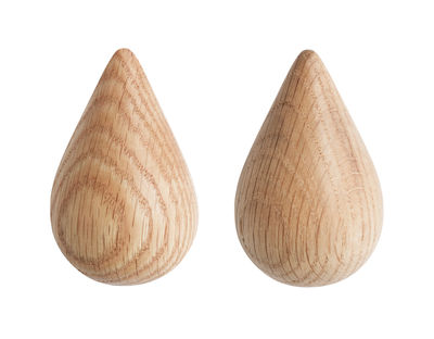Mobilier - Portemanteaux, patères & portants - Patère Dropit Small lot de 2 - H 7,7 cm - Normann Copenhagen - Naturel - Small / H 7,7 cm - Bois
